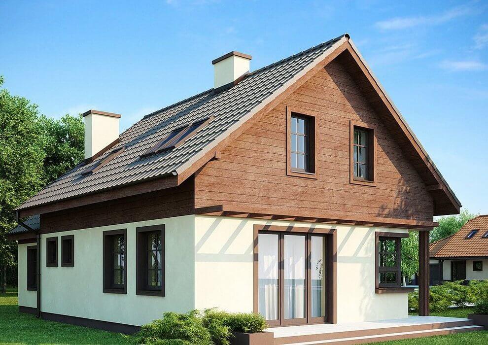 Проект каркасного дома из СИП панелей с гаражом, скандинавский стиль
