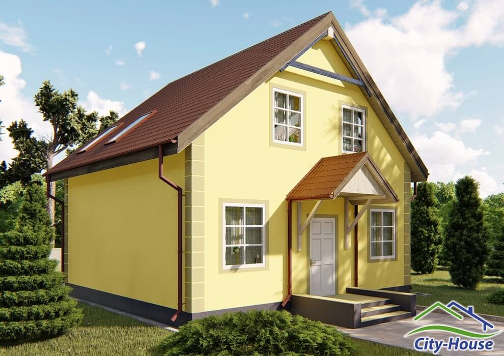 Проект каркасного дома из СИП панелей C1506 Львов 2