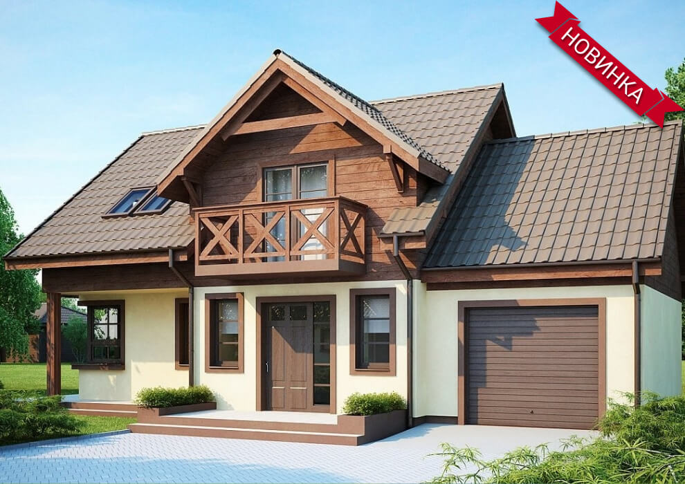 Проект каркасного дома из СИП панелей с гаражом в скандинавском стиле