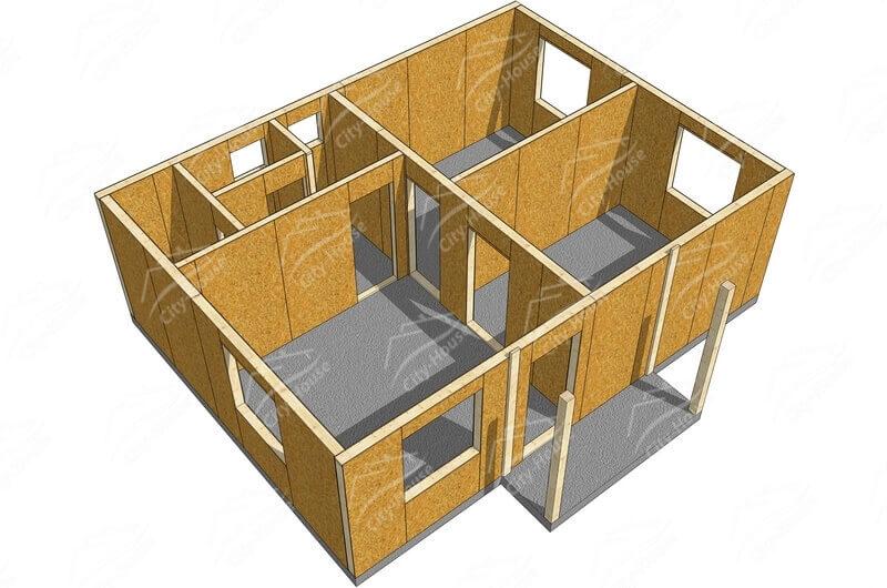 План этажа каркасного домокомплекта з СИП панелей по проекту для сборки