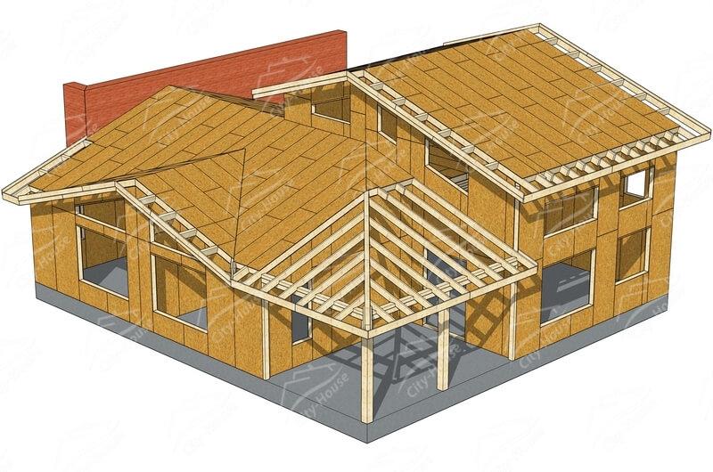 Конструкция каркасного домокомплекта из СИП панелей
