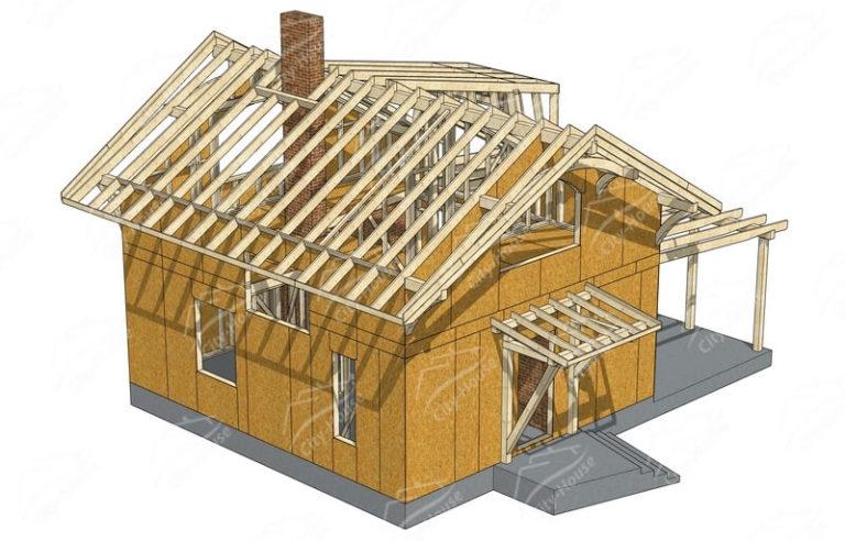 Домокомплект каркасного дома в 3D