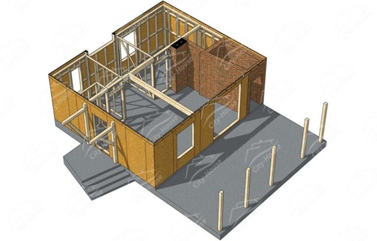 План первого этажа каркасного дома в 3D