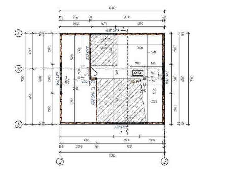 План второго этажа каркасного дома