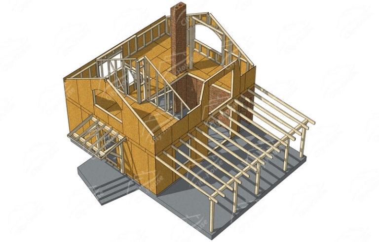 План второго этажа каркасного дома в 3D