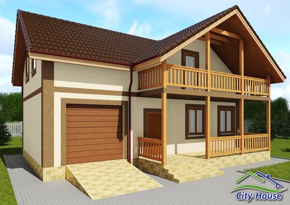 Проект двухэтажного дома с гаражом и балконом C1739 Сквира