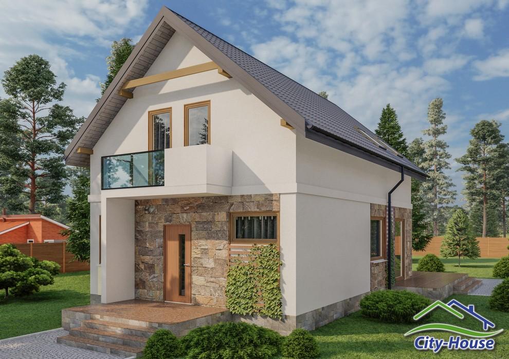 Проект мансардного дома с балконом и террасой C1743 Обухов