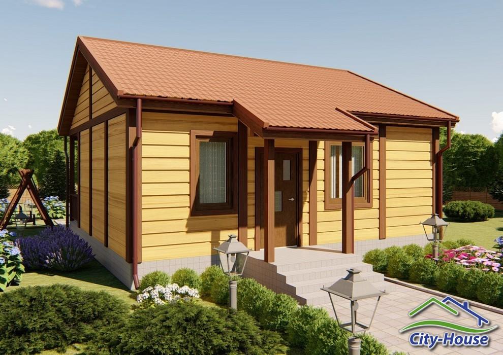Проект небольшого дачного домика с террасой C1741 Песчанка