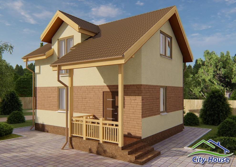 Проект небольшого дома с мансардным этажом C1828 Моршин