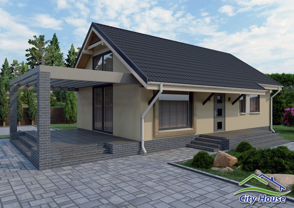 Проект одноэтажного дома с открытой террасой C1756 Иванков