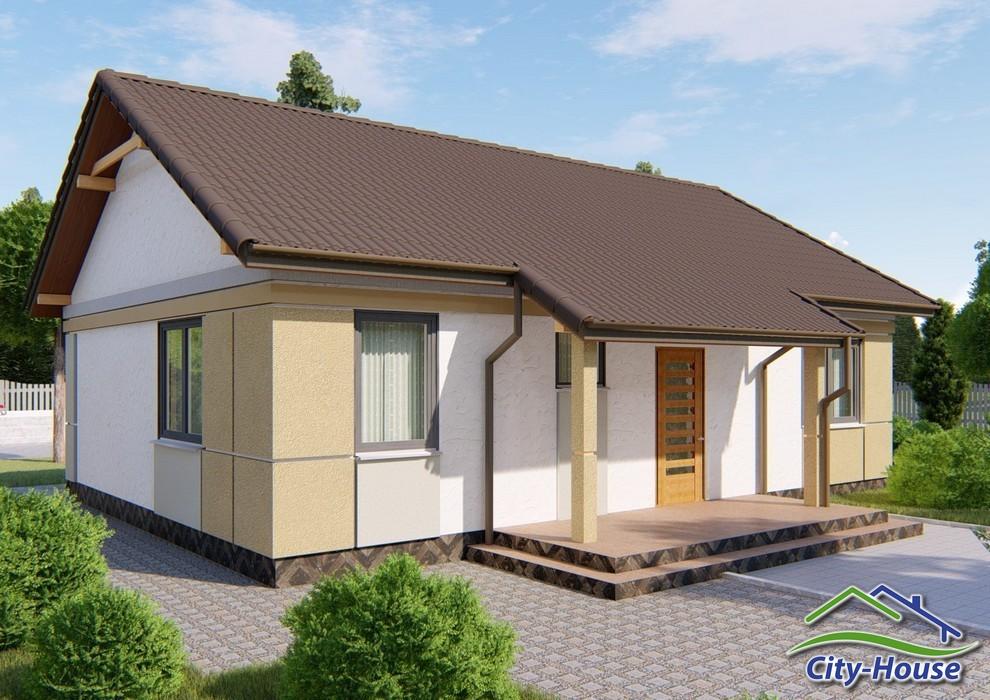 Проект одноэтажного дома с террасой C1761 Ракитное