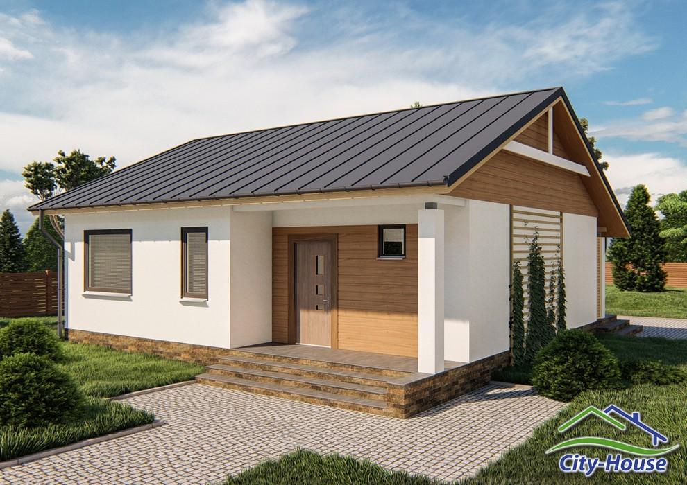 Проект современного одноэтажного дома с террасой C1744 Борисполь