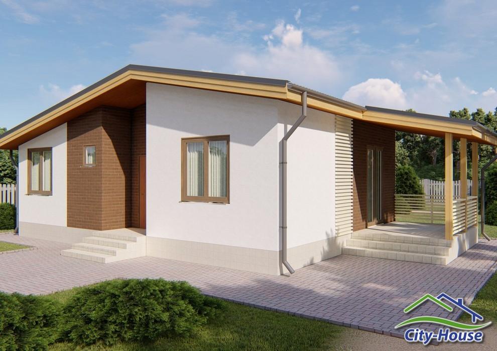 Проект современного одноэтажного дома с террасой C1840 Дрогобыч